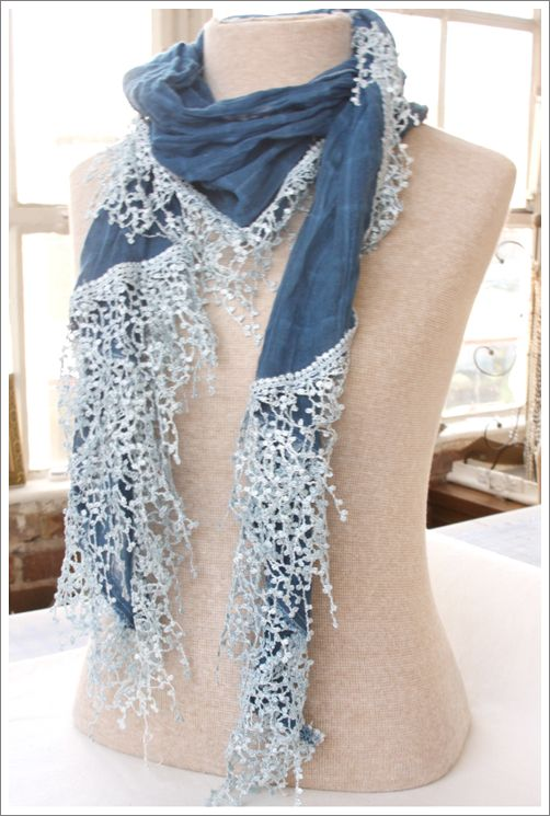 idea file for a chambray  and lace scarf.  I love denim and lace.