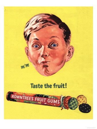 Rowntree's, Fruit Gums Sweets, UK, 1950 Premium Poster