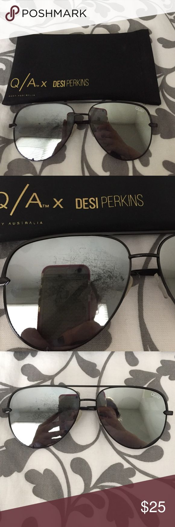 Desi Perkins High Key Black Aviators Desi Perkins High Key Black Aviators. Bought off of here, has a big scratch on the right lense. The left lense is in good condition. Let me know if you have any questions. Offers are welcome! Quay Australia Accessories Sunglasses