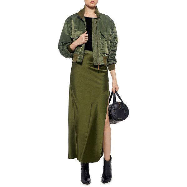 Nili Lotan - Maya Silk Satin Maxi Skirt ($625) ❤ liked on Polyvore featuring skirts, slit maxi skirts, floor length skirt, ankle length skirts, green maxi skirt and nili lotan