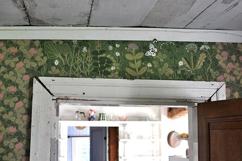"""""""A piece of the wall and wallpaper was missing above a door in our summer house. What to do but paint the missing part by hand. The paint I used was traditional lime paint, with pigment powder mixed to the right colours by hand."""""""
