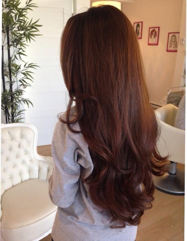 Love this gorgeous health chestnut brown long hair.