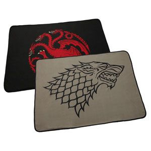 Double click to see the other side of these blankets, sweet! ThinkGeek :: Game of Thrones Two-Sided Fleece Blanket