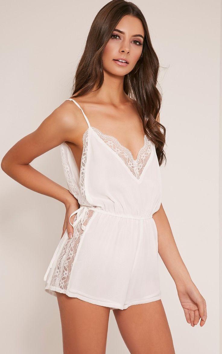 Shiela White Lace Insert Playsuit Image 1