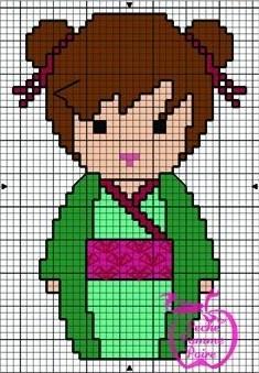 Kokeshi hama perler pattern