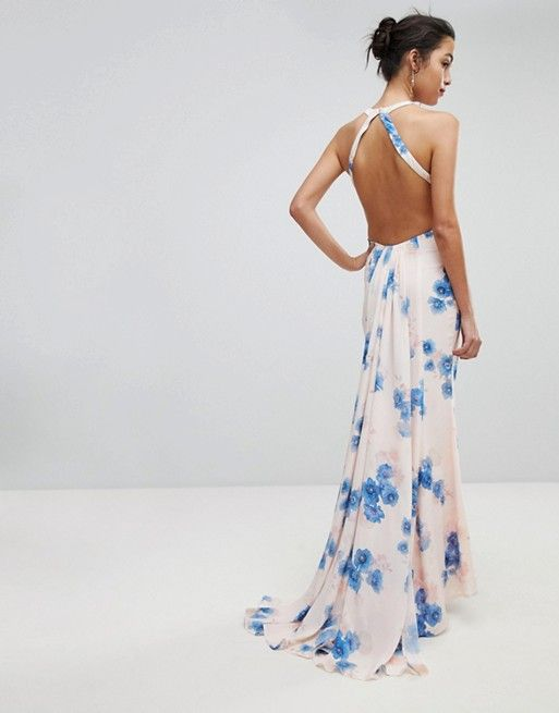 5891bddb4965 Jarlo | Jarlo Open Back Maxi Dress With Train Detail In Summer Floral Print