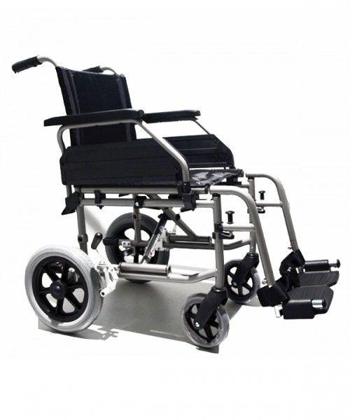 Silla de ruedas de acero plegable ruedas pequeñas