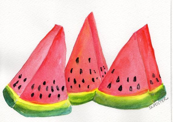 Watermelon Wedges Watercolor Painting Fruit by SharonFosterArt, $16.00