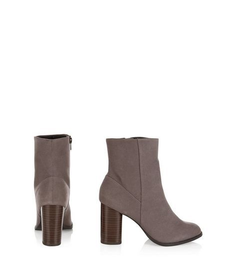 Grey Suedette Cylindrical Heel Ankle Boots  | New Look