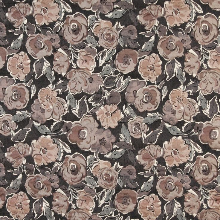 Grey, Off White, Beige And Rose, Flower Patterned Upholstery Fabric By The Yard 1