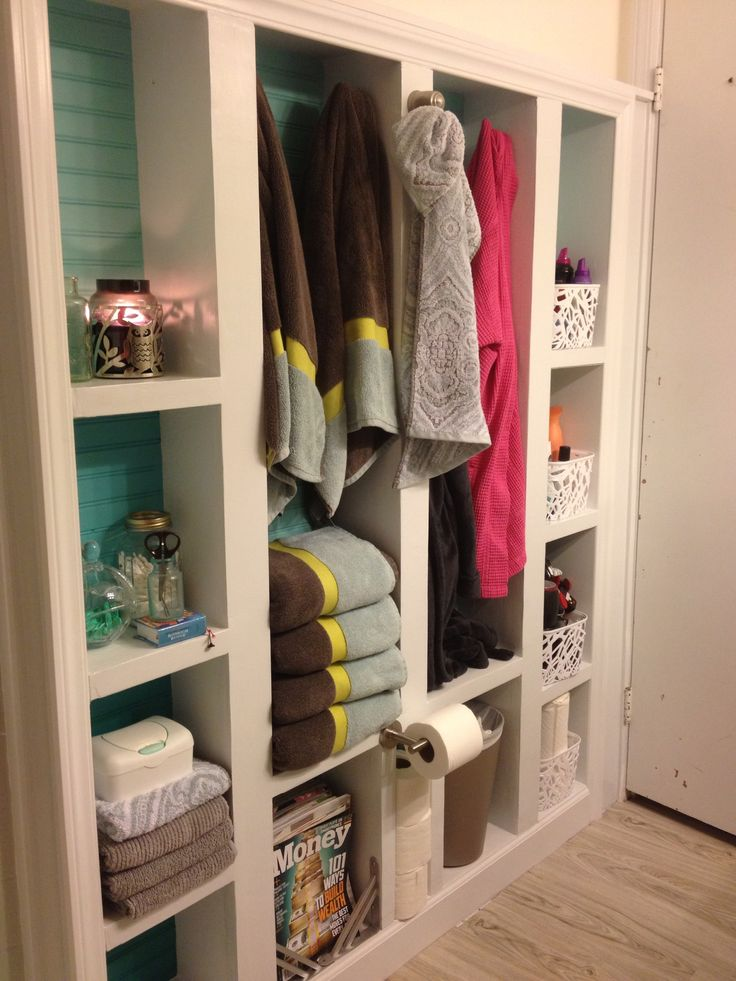 Extra Bathroom Storage With Built In Bookcase Boxes Were Built In Between Studs And Framed Out