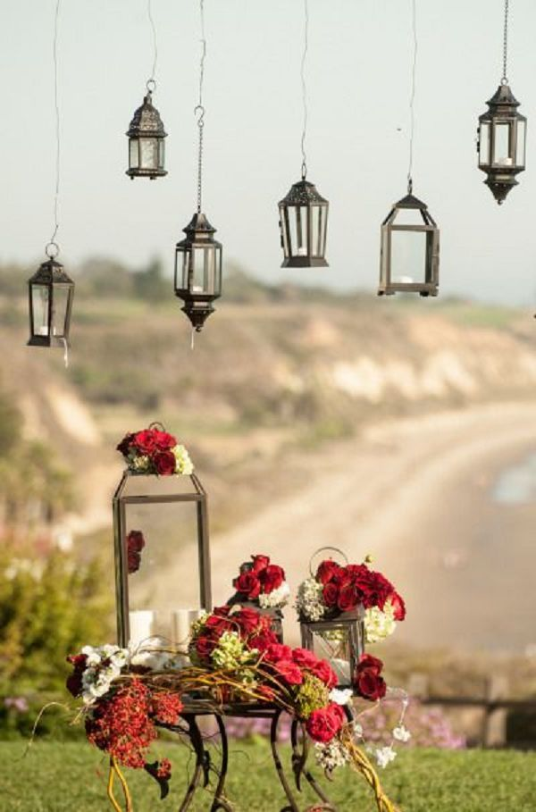 Gallery: Black and red lanterns fall wedding decor - Deer Pearl Flowers