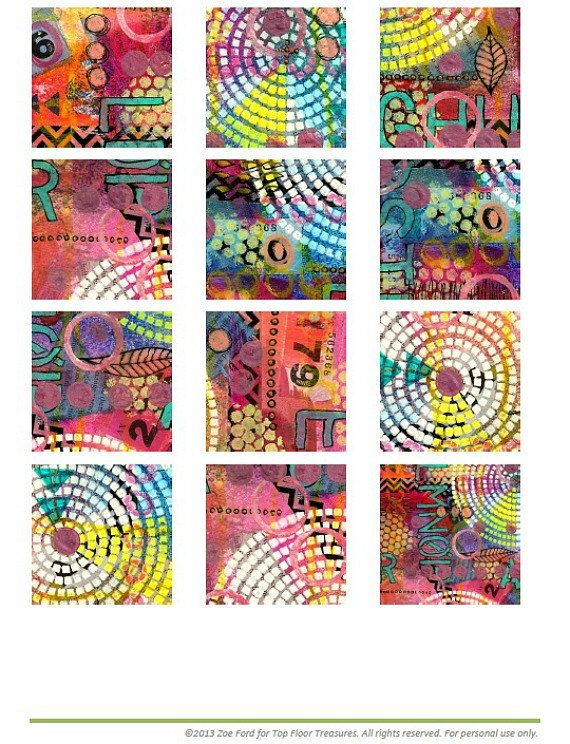 Digital Collage Sheet  Mixed Media  Instant Download