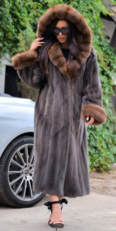 Nouveau Royal SAGA MINK russe sable long manteau de fourrure capuche Clas Chinchilla Fox libertin