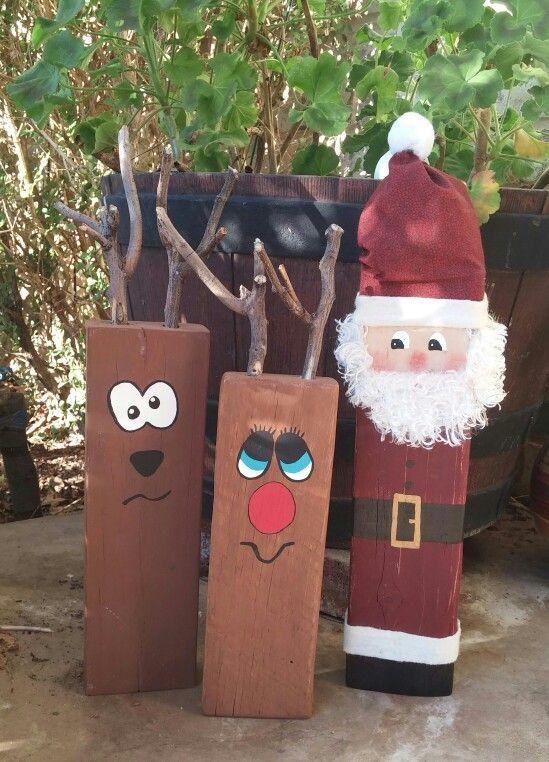 Santa And Reindeer 2x4 Christmas Wood Crafts Holiday Crafts Diy Christmas Crafts
