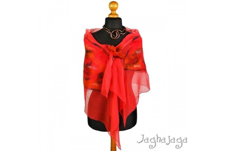 Resd - szal filcowany na jedwabiu / Red - felted scarf [Jaghajaga] -> Zitolo.com