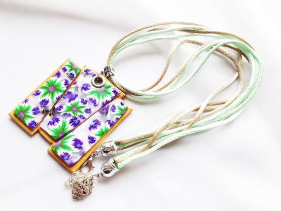 Asymmetrical floral pendant necklace by MFcreationshandmade
