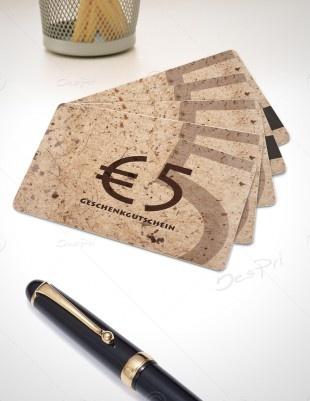 5 Euro Gutscheinkarte, Plastikkarte mit Magnetstreifen, Mino Paper look, PK-FP-0002 | Gutscheine | Plastikkarten | Werbedesigns | Despri