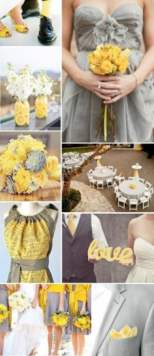 Love the color scheme, lemons(and maybe limes) slices in the vases and the upper bridesmaid dress!!