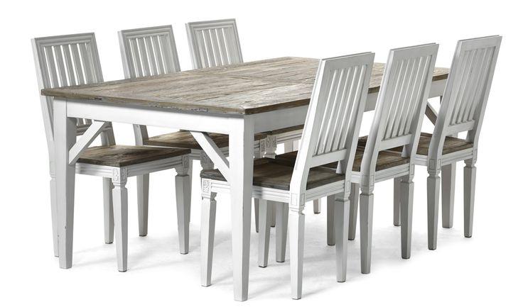 Romantisk matgrupp i den populära Elise-serien. Bordsytan är tillverkad i återvunnet trä vilket gör att varje bord blir unikt med sina sprickor och sin historia. En stabil men nätt konstruktion gör att det lättsamt smälter in i övrig interiör. Inkl. Elise stol. Elise finns i flera delar, t.ex. soffbord och TV-bänk.