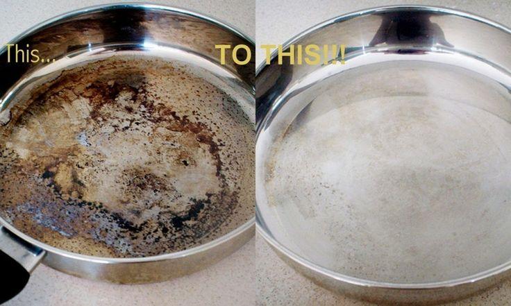 Чистящее средство для пригоревшей сковородки.  Налейте в сковородку воды и добавьте стакан белого уксуса. Прокипятите на медленном огне. Снимите с плиты и добавьте 2 столовые ложки пищевой соды. Вылейте раствор из сковородки и слегка протрите, чтобы удалить пригоревшие остатки.