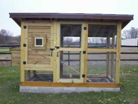 The Best Chicken Coop - The Reverse Wichita Cabin Coop - A chicken coop designed for 5-6 chickens. It features 3 nesting boxes and 2 roosting bars in the main shelter, along with a chicken door that can be opened-closed from outside of the chicken coop. Outside of the main shelter is a small yard for the hens to scratch around in. A large do...