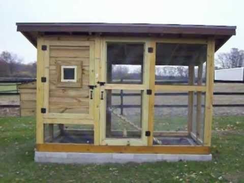 Chicken coop idea.    Cool drop door on pully.