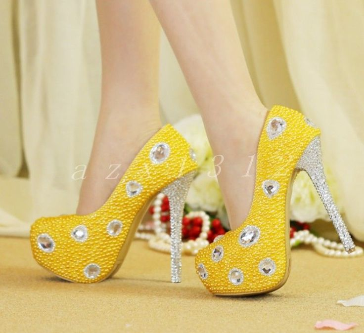 Hot Women's Leather Rhinestone Bling Yellow High Heel Date Wedding Outdoor Shoes #Unbranded #Stilettos #Casual