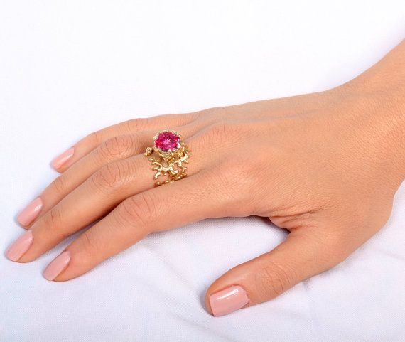 CORAL Ruby Engagement Ring Statement Ring Gold by AroshaTaglia