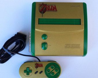 Custom Zelda Super Nintendo Mini SNES MINI A Link to the Past Gold/Green w/ SNES Contoller