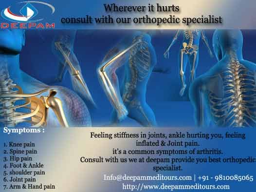 get the orthopedics treatment for Knee replacement, hip replacement, shoulder surgery and elbow surgery by the renowned surgeon at best hospital best price.