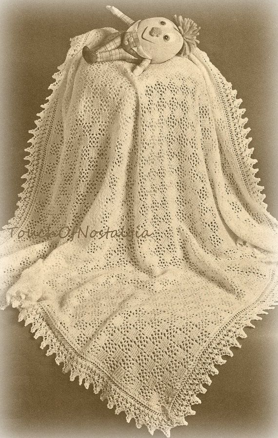Vintage Shawl Knitting Patterns : Lacy Baby SHAWL Knitting Pattern - Beautiful EYELET Lace Baby Shawl or Blanke...