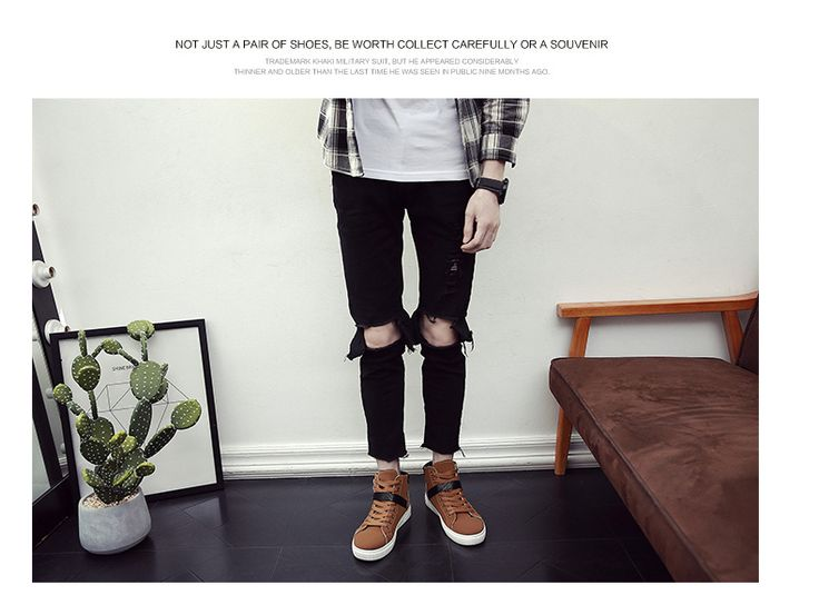 2017 New Korean Men's Shoes and High Shoes Casual Shoes Men's Fashion Retro Martin Boots