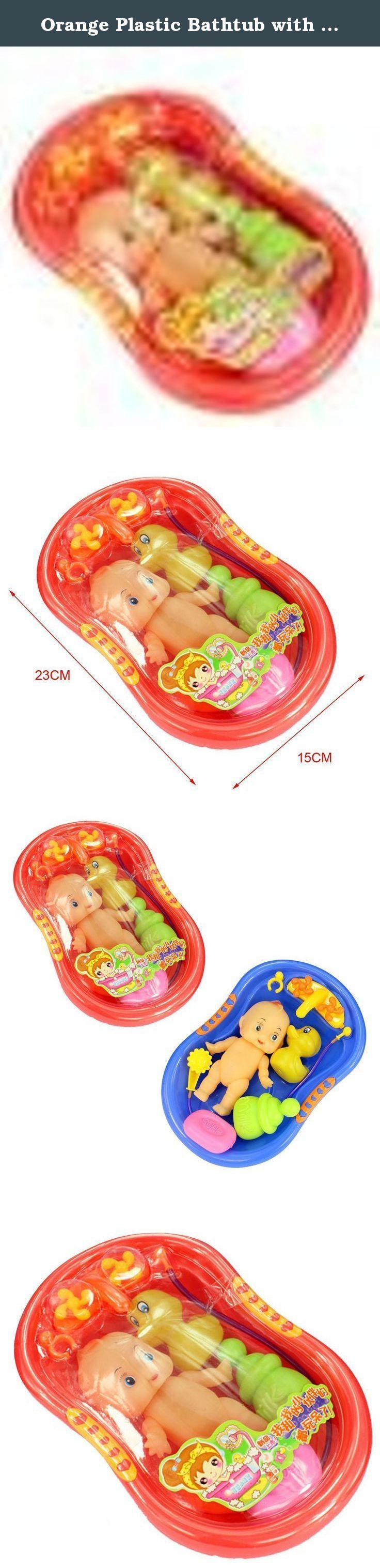 Orange Plastic Bathtub with Baby Doll Bath Time Toy Set. Description: Cute bathtub toy set with baby doll Made of light plastic & be able to float on water Pefect for children playing High degree of simulation Includes: Water tap, shower nozzle, baby doll, bathtub, soap, feeding bottle, and duck toy Material: Plastic Main Color: Orange Bathtub Size:23 × 15 cm Not suitable for kids under 4 years old Package Includes: 1 × Miniature Bathtub Set Note: Contains small parts, please prevent kids...