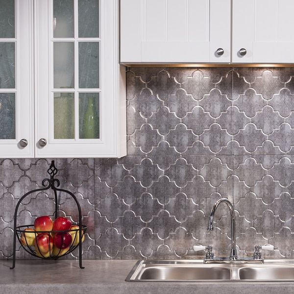 Captivating Fasade Monaco Crosshatch Silver Backsplash Panel (1 Sheet) (Sample 6 In. X  6 In. Monoco Crosshatch Silver)