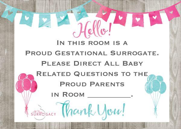 Surrogate Hospital Door Sign FREE Printable!!