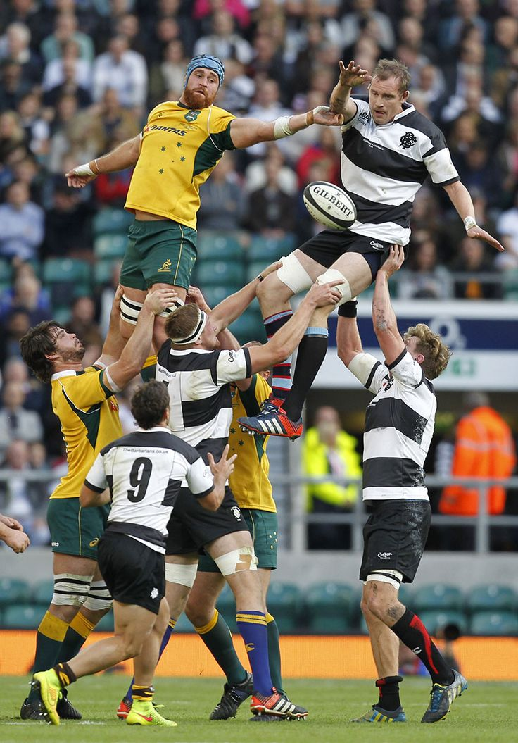 Barbarians captain Alastair Kellock (right) contests a lineout with Australia's James Horwill