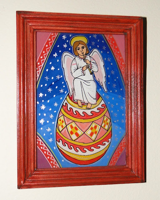 Angel on an Easter Egg by Yaroslav Adamovych - Glass Painting from Ukraine  #Ukraine #Ukrainian #Angel #Easter