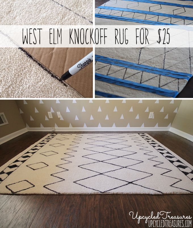 Can you believe this was done using a sharpie? DIY Sharpie Rug, a West Elm Rug Knockoff. #sharpie #diyrug #knockoff {UpcycledTreasures.com}