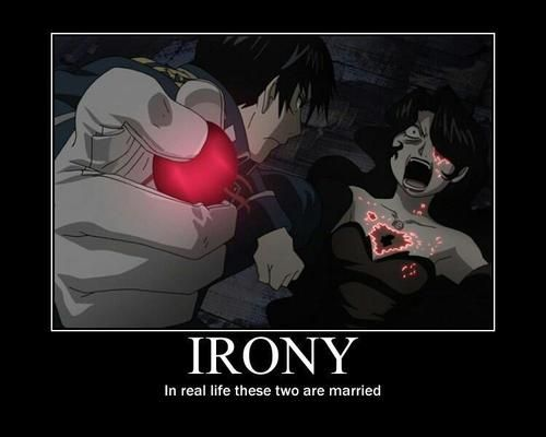 This is true!  The Funimation voice actors for Roy and Lust got married.  :)