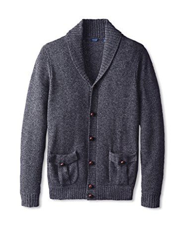 Thirty Five Kent Men's Cashmere Marled Button Shawl Collar Cardigan Sweater:   Marled cashmere knit with classic shawl collar, ribbed cuffs and hem