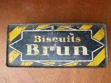 Ancienne boite en fer publicitaire biscuit brun année 1950