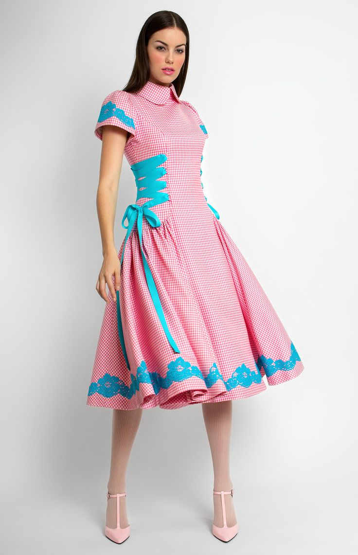 Fine wool dress trimmed with lace and ribbon. Turndown collar with a collar stand. Decorative side ribbon lacing. Hidden back zip closure. Without pockets. #Pintel #work #cocktail #blue #pink #wool #checked  #dress #cute #pretty #midi #style