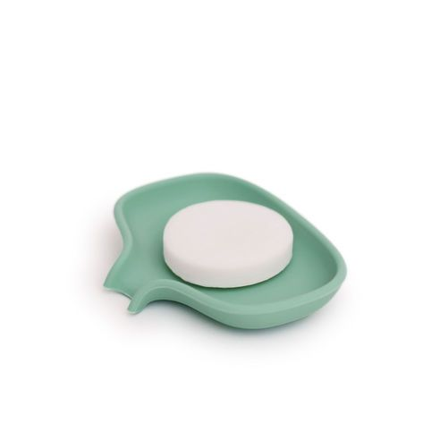 Bosign Small Mint Flow Soap Saver Dish: Bosign's Small Soap Saver Flow in Mint, is a beautiful soft soap dish with a functional design that protects your soap from excess water and subsequently prevents it turning mushy. The runoff spout on the soap dish keeps the soap fresh by the natural runoff of excess water, while a raised ridge in the middle allows air to flow freely around your bar of soap. Perfect for your countertop in either the bathroom or kitchen.