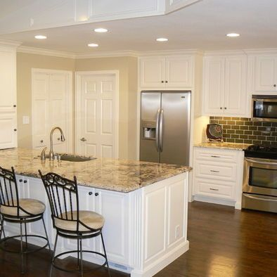 White Cabinets Dark Wood Floors Tan Granite Off White