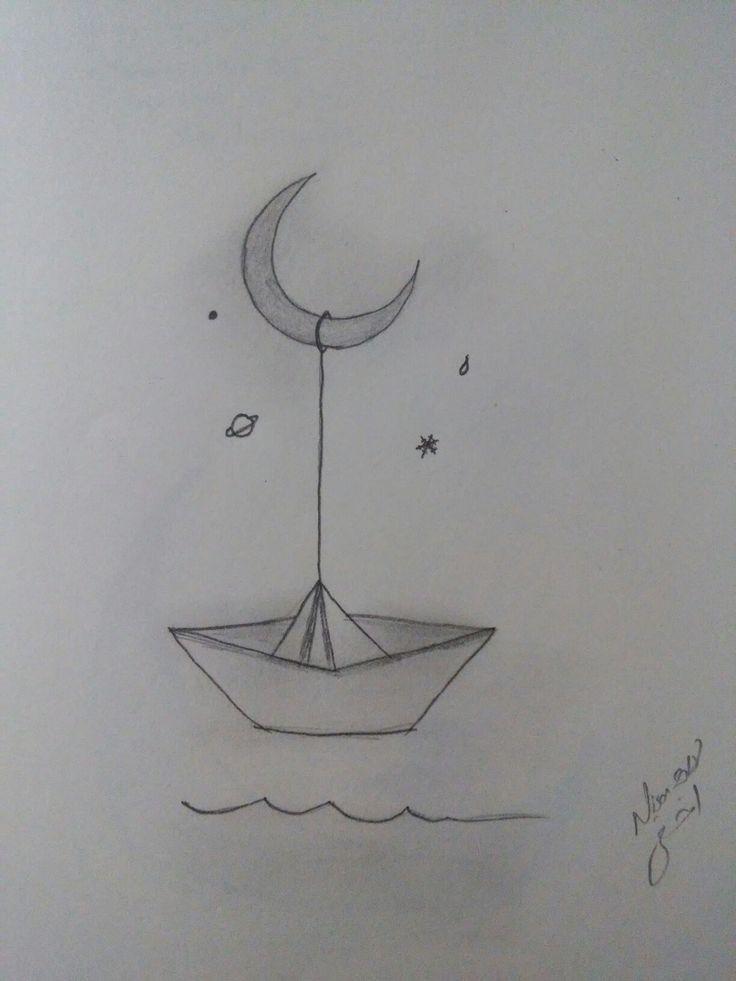 Karakalem Gemi Ay Hayaller Ay Gemi Hayaller Karakalem Easy Pencil Drawings Sanat Karalama Defteri Cizim Fikirleri