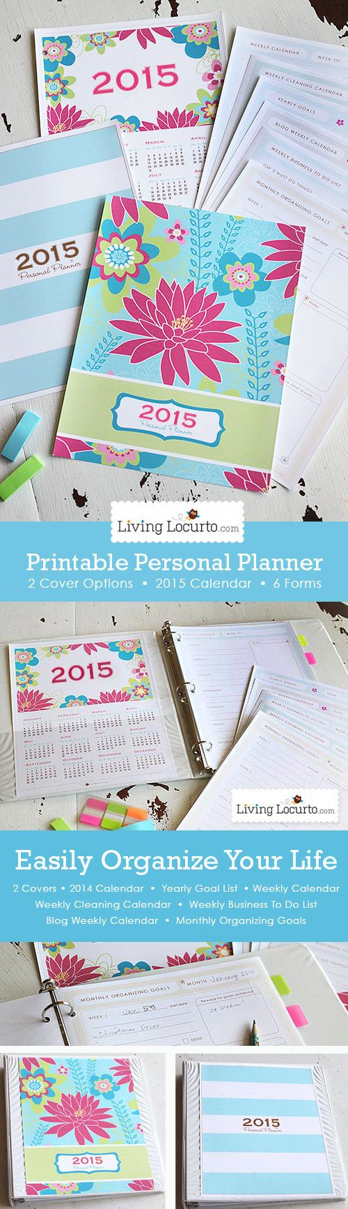 I love this cute idea. Get your life organized! A Printable Daily Planner with 2015 Calendar and 6 life organizational sheets. Cleaning calendar, blog calendar, To-do lists and more! LivingLocurto.com