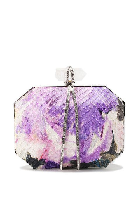 MARCHESA Iris Floral Painted Python Small Box Clutch is perfection in a clutch! #trendy