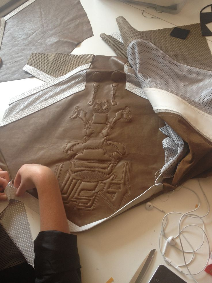 Anne Sofie Madsen SS14 leather and mesh embossed sweatshirt in production