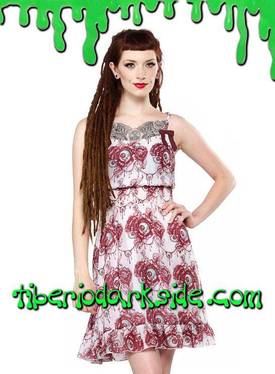 Vestido psychobilly realizado en tejido de chiffón estampado de guirnaldas de flores y ojos en tonos burdeos y menta, de tirantes, con cintura elástica fruncida y volante en la falda. Material: 100% polyester. Marca: Sourpuss.  COLOR: BLANCO TALLAS: S, M, L, XXL  S - 82 cm pecho (ES talla 36, MEX talla 26, UK talla 8) M - 88 cm pecho (ES talla 38, MEX talla 28, UK talla 10) L - 94 cm pecho (ES talla 40, MEX talla 30, UK talla 12) XXL - 106 cm pecho (ES talla 44, MEX talla 34, UK talla 16)